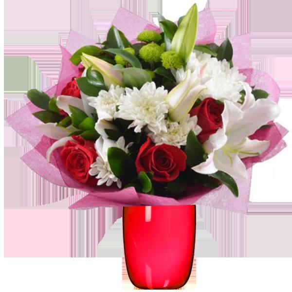 Цветной букет из лилии и хризантемы, белокуриха